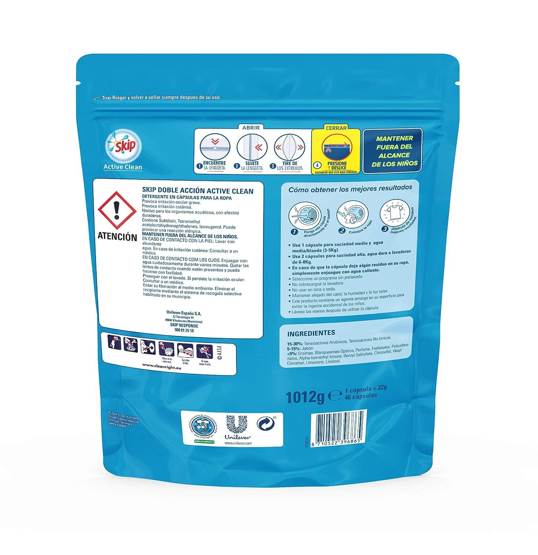 Skip Active Clean Detergente Cápsulas para Lavadora - Paquete de 5 x 20 lavados - 100 lavados