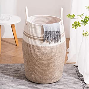 YOUDENOVA 105L Extra Large Woven Laundry Hamper Basket with Heavy Duty Cotton Rope Handles for Clothes and Toys in Bedroom, Nursery Room, Bathroom, Collapsible, Brown