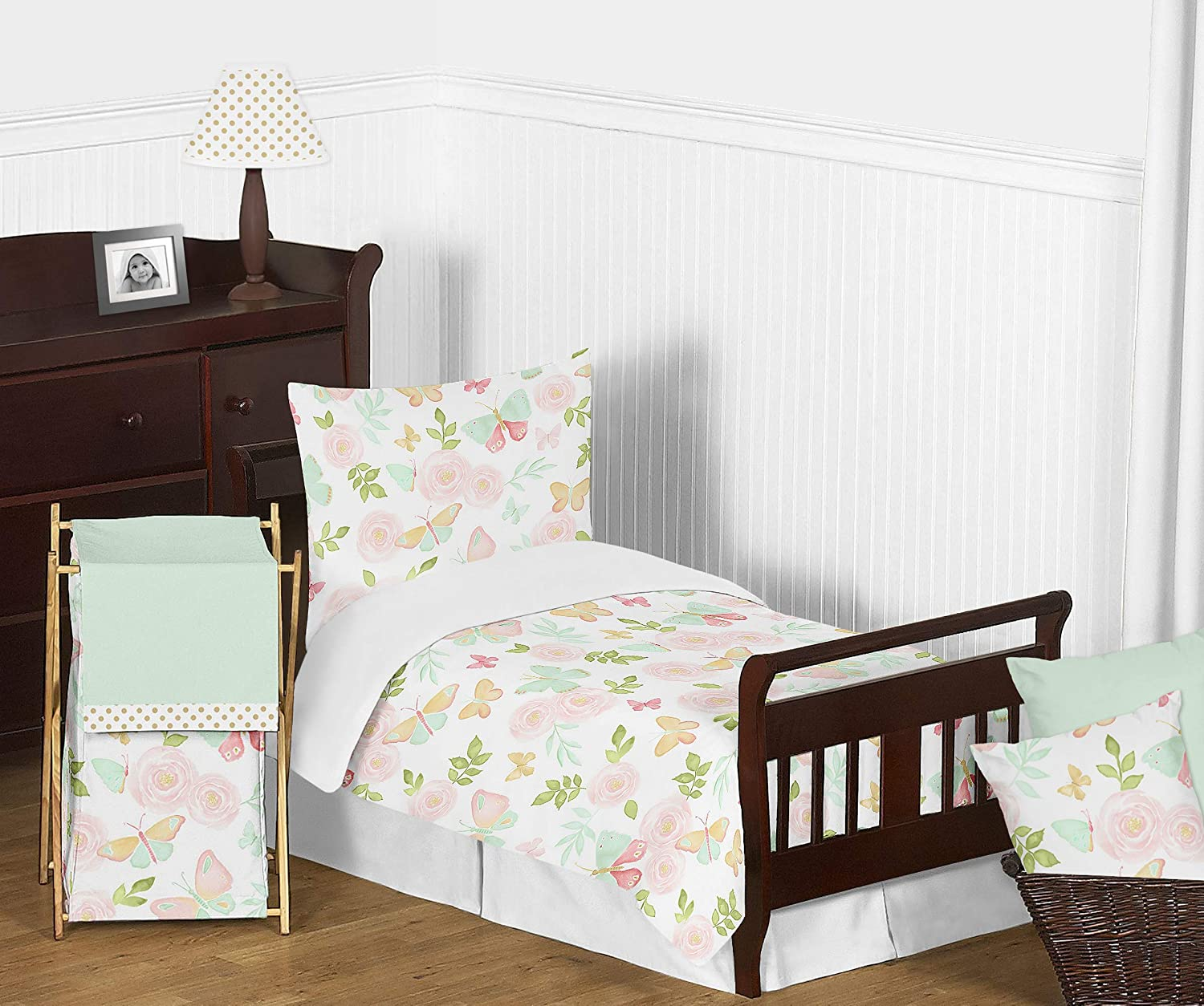 Sweet Jojo Designs Blush Pink, Mint and White Shabby Chic Butterfly Floral Girl Toddler Kid Childrens Bedding Set - 5 Pieces Comforter, Sham and Sheets - Watercolor Rose