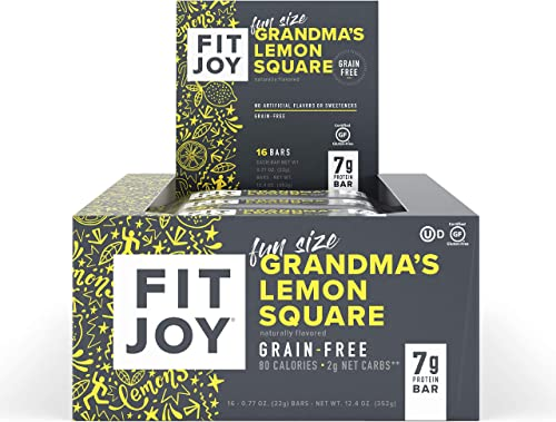 FitJoy Mini Protein Bars, Grandma s Lemon Square, Gluten Free, Grain Free, Low Carb.67 Ounce, 16 Pack