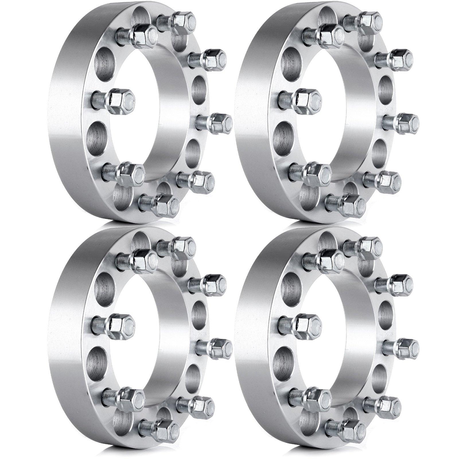 ECCPP Wheel Spacers, Wheel Spacer Adapters 4X 1.5 8x6.5 to 8x6.5(8x165.1 mm) for 99-10 Chevy Silverado GMC Sierra 1500HD 2500HD 3500HD Thread Size 14x1.5(126.15 mm) (4PC 1.5''|8x6.5)
