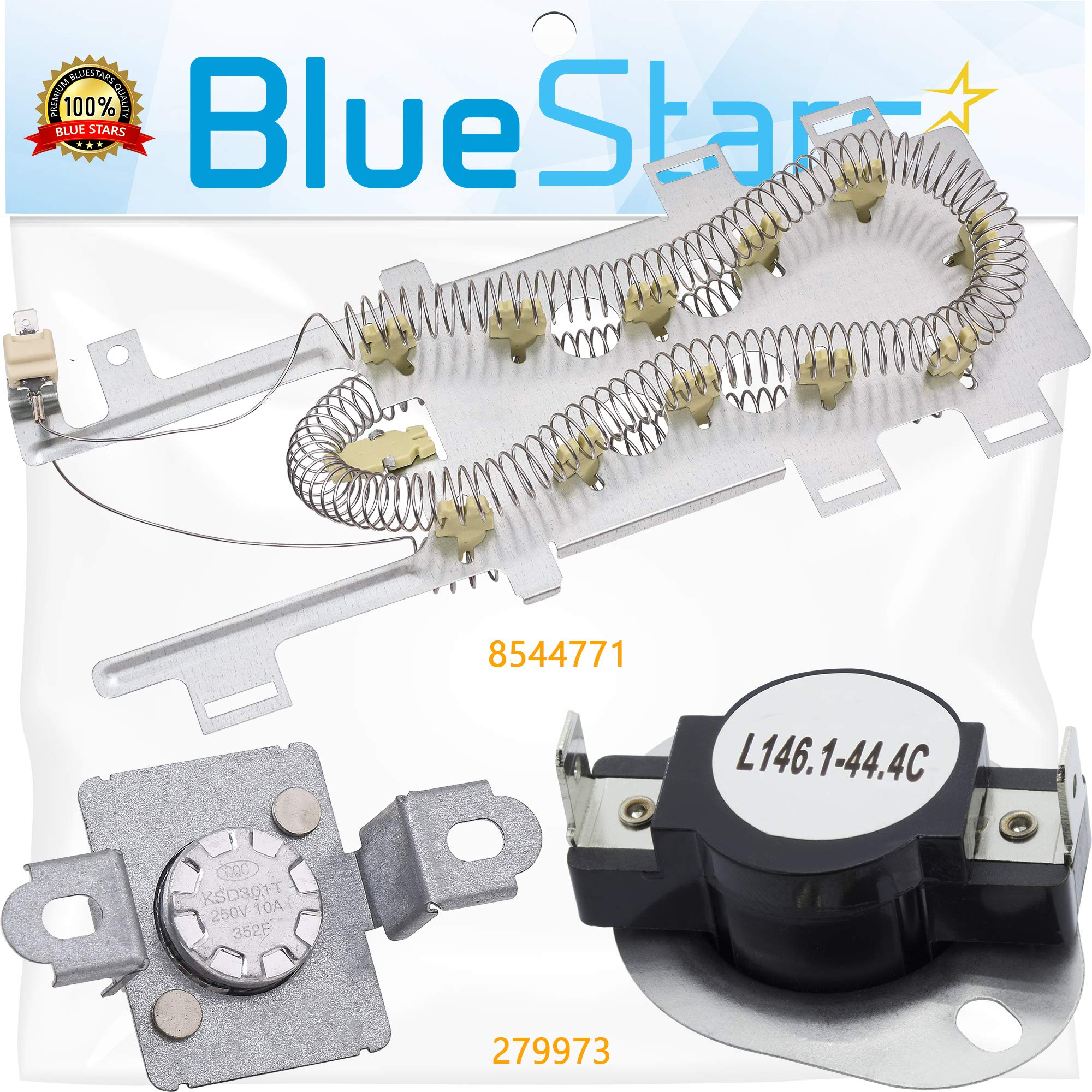 8544771 & 279973 Dryer Heating Element With Dryer Thermal Cut-off Fuse Kit by Blue Stars- Exact Fit for Whirlpool & Kenmore Dryers by BlueStars
