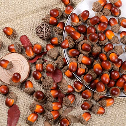 Dearhouse 200 Pieces Fake Acorns For Crafts Artificial Fruit Props Acorns Decoration Crafting Diy Home Party Wedding Decor Thanksgiving Christmas