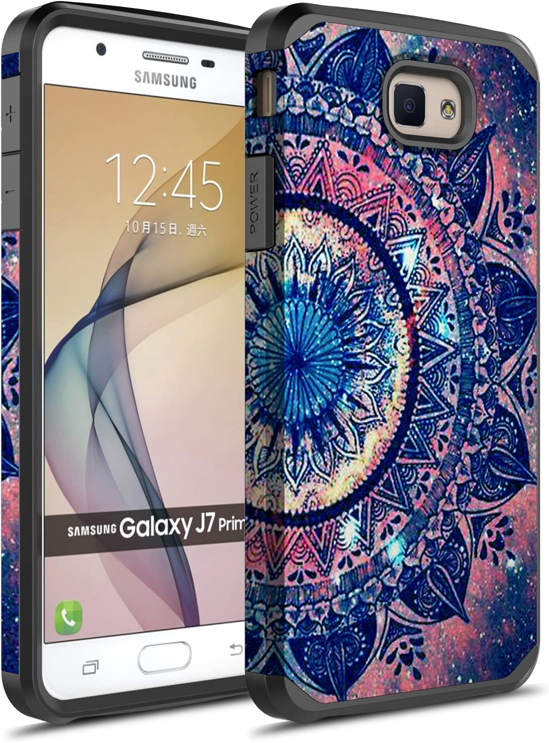 Amazon Com J5 Prime Case Hasting Drop Protection Dual Layer Shockproof Hard Hybird Slim Defender Armor Protector Cover For Samsung Galaxy J5 Prime Sm G570 Mandala