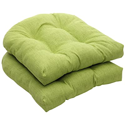 Pillow Perfect Indoor/Outdoor Green Textured Solid Wicker Seat Cushions, 2-Pack: Home & Kitchen
