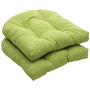 Pillow Perfect Indoor/Outdoor Green Textured Solid Wicker Seat Cushions, 2-Pack