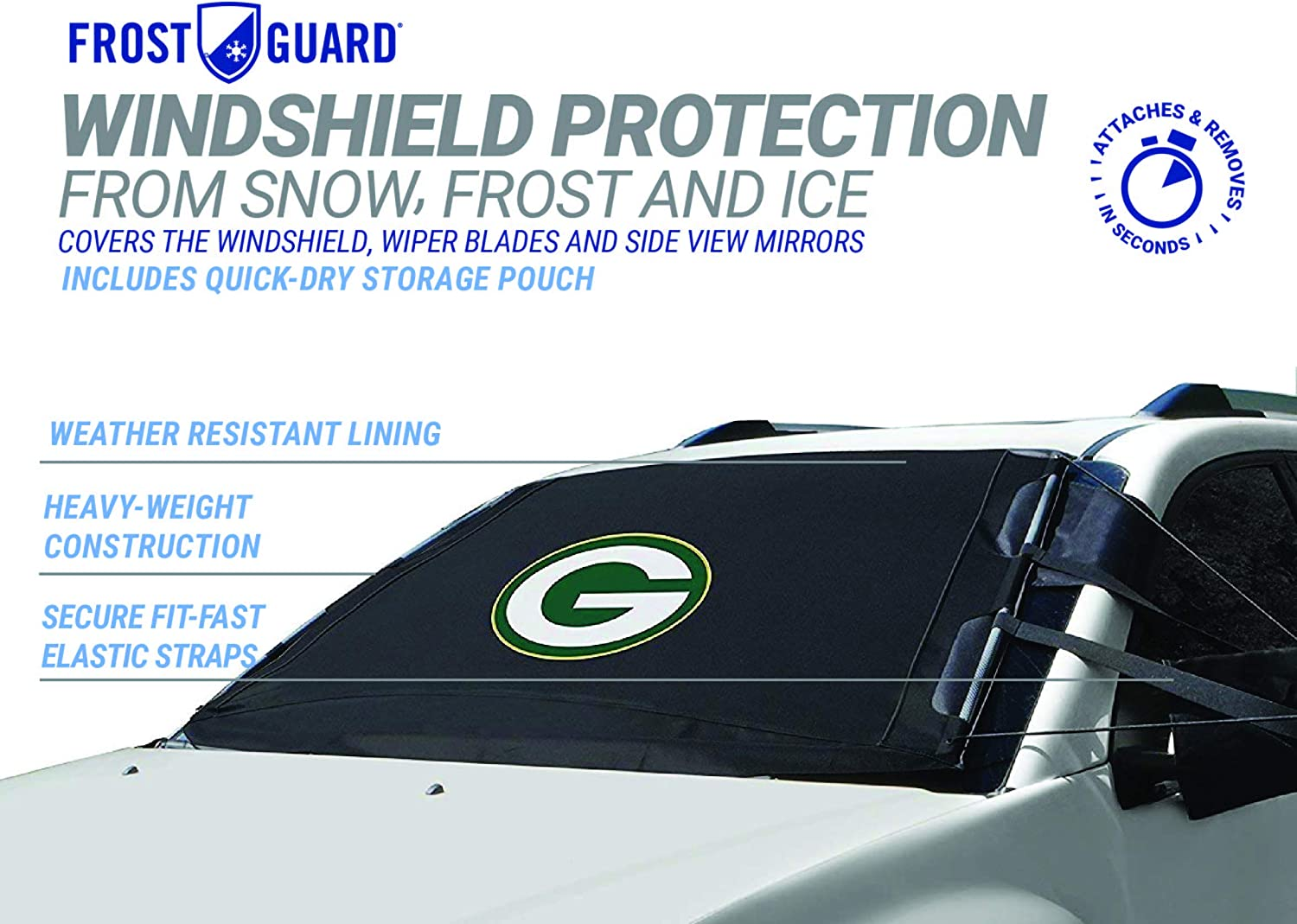 SUVs Green Bay Packers| Standard Size Car Windshield Cover Fits Most Compact Cars NFL Frost Guard Windshield Cover for Ice and Snow Sedans Small Trucks Black 60 x 40 Inches