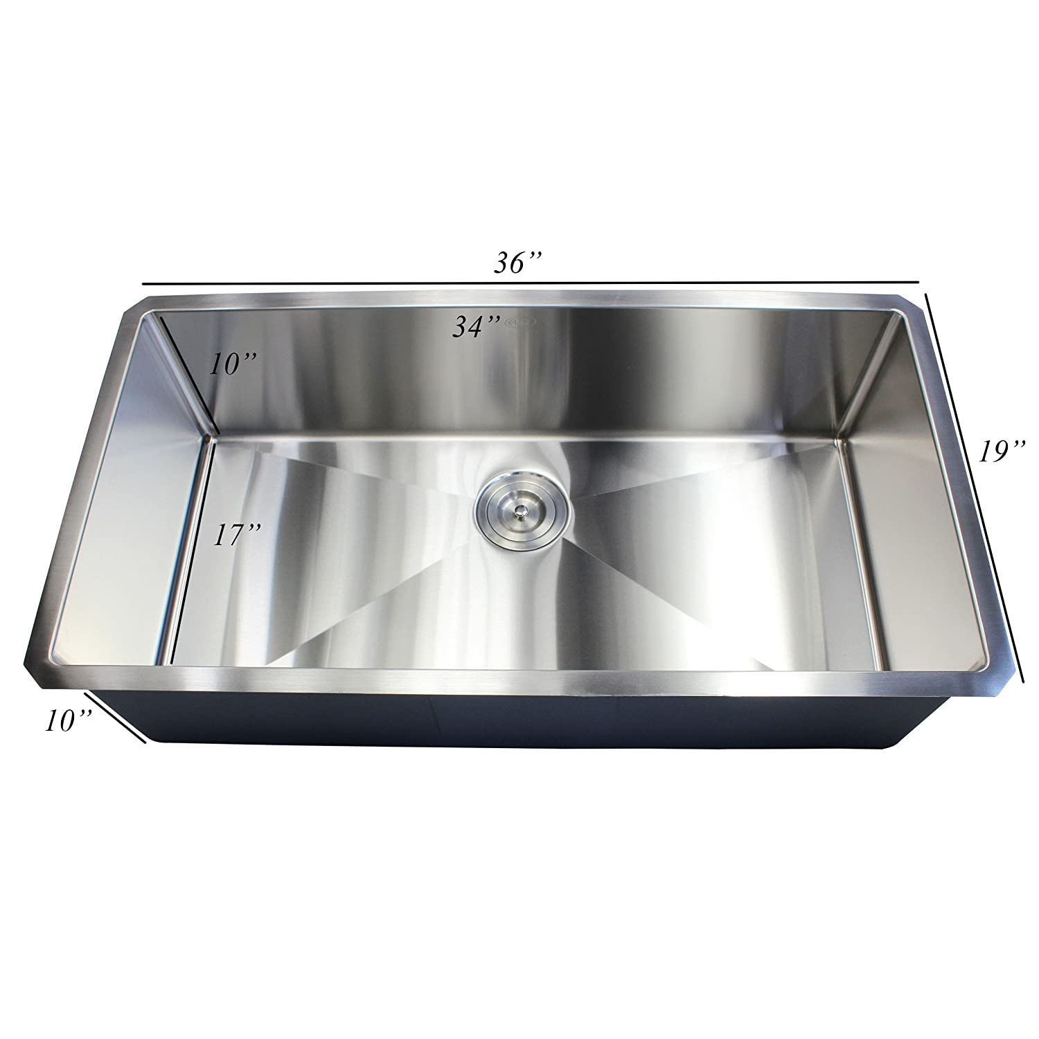 ARIEL - 36 Inch Stainless Steel Undermount Single Bowl ...