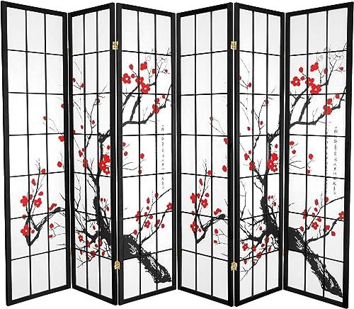 Oriental Furniture 6 ft. Tall Flower Blossom Divider – Black – 6 Panels