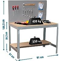 Simonrack 338100045159062 Banco de trabajo (1440 x 900 x 600 mm, 2 estantes y 1 panel perforado, 400 kg-250 kg) color…