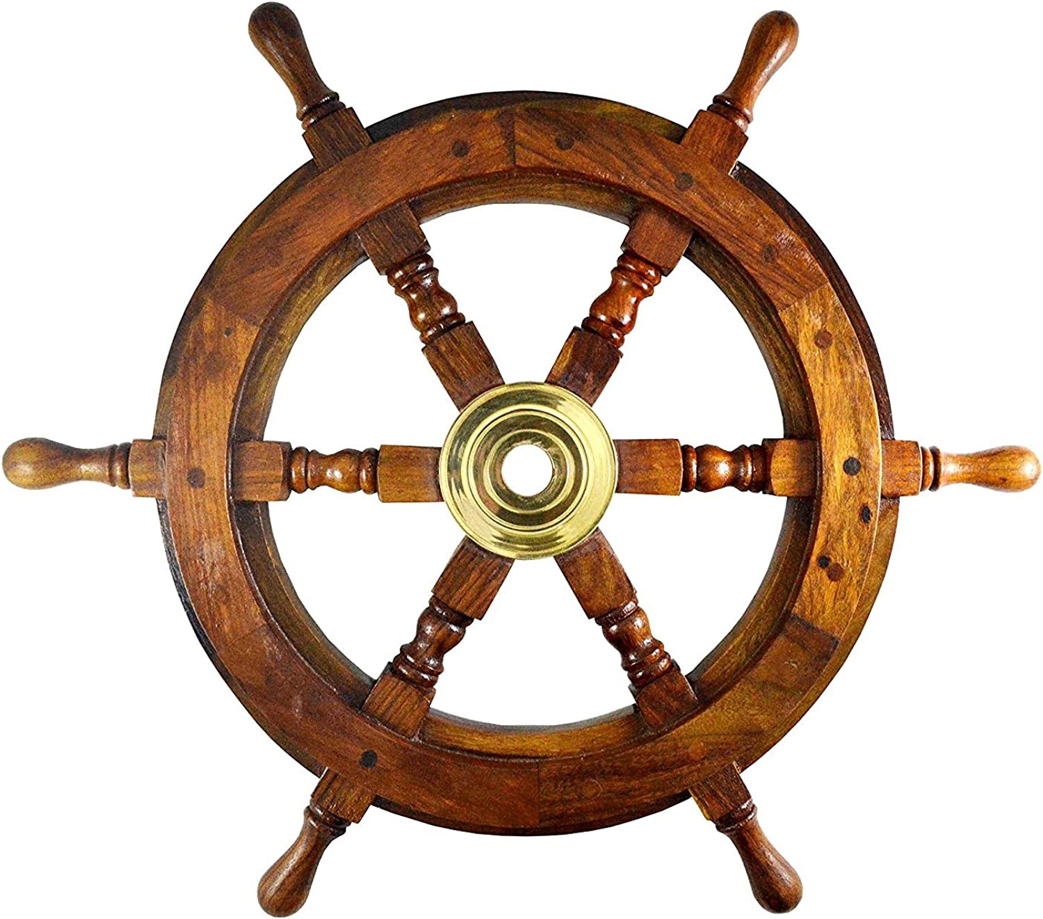 18/'/' BLACK WOOD Nautical Decorative Ship Wheel Captain/'s Boat Steering DECOR