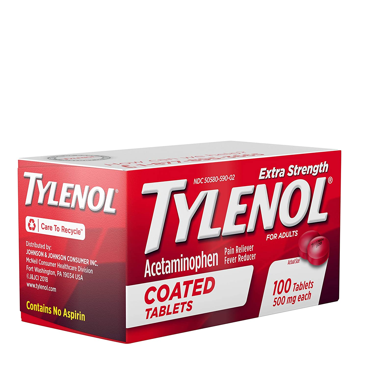 Amazon.com: Tylenol Extra Strength Coated Tablets, Acetaminophen Adult Pain Relief & Fever Reducer, 100 ct: Health & Personal Care