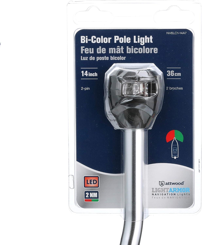 Bi-Color 14 Black w//Task Light attwood NV6LC2-14BP7 LED Light Pole