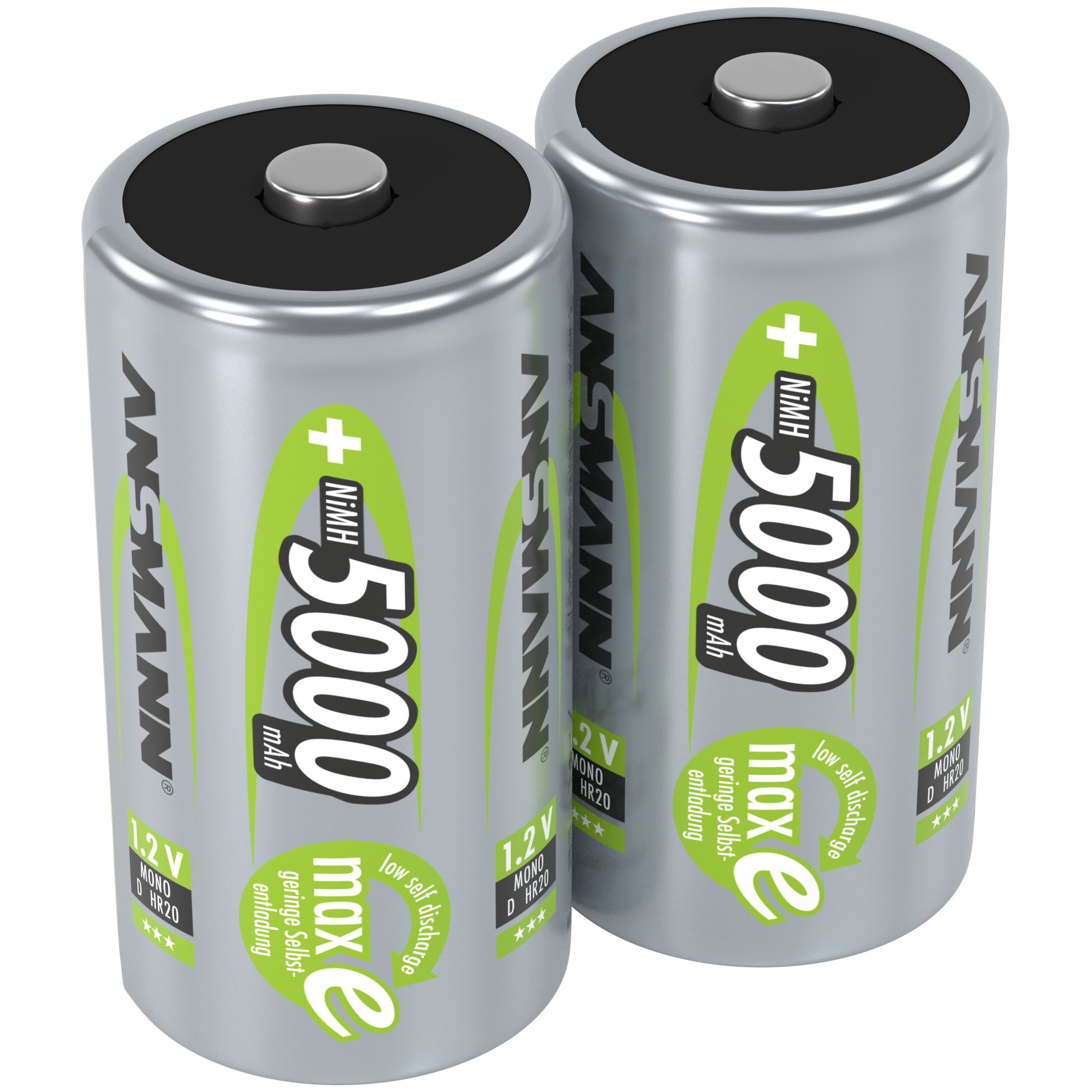 ANSMANN Rechargeable D Batteries 5000mAh maxE ready2use NiMH Professional D Battery pre-charged Power Accu for flashlight (2-Pack)