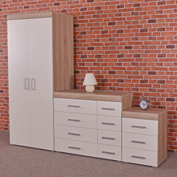 White / Sonoma Oak Bedroom Furniture Set   Wardrobe, 4+4 Drawer Chest U0026