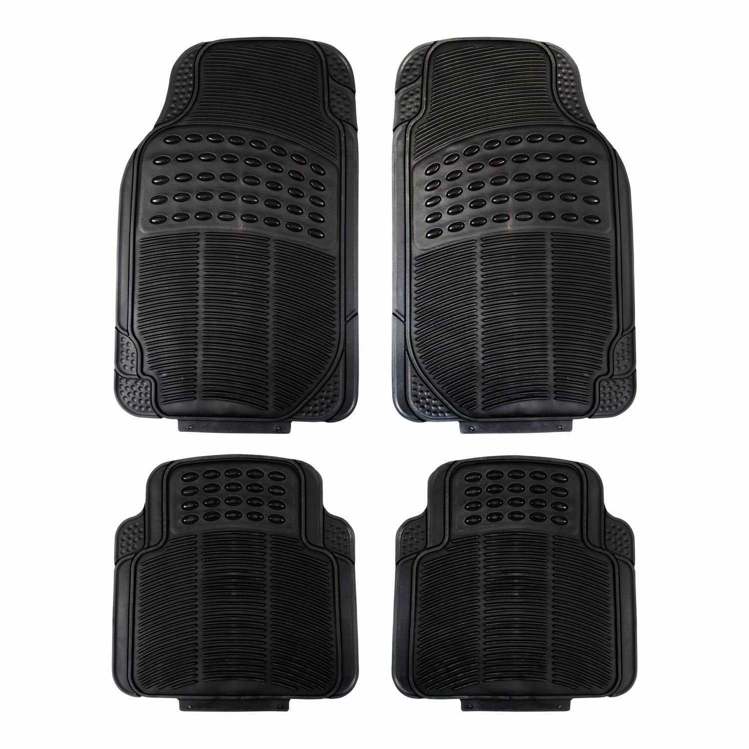 Fifth Gear 4pc Heavy Duty Universal Black Rubber Car Mat Set Non Slip Grip B0143534VY