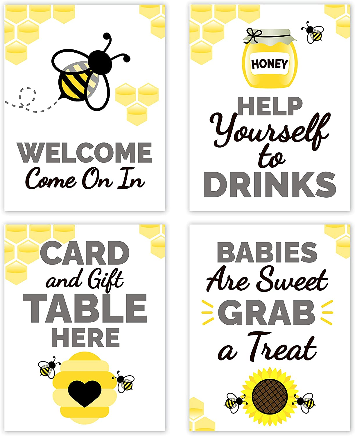 Bumble Bee Baby Shower Table Decorations Signs - Centerpiece Decor Supplies Gender Neutral