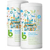 Babyganics All Purpose Surface Wipes, Fragrance Free, 150 Count (75 Count, 2 Pack), Plant Based and Non-Abrasive, No Ammonia,