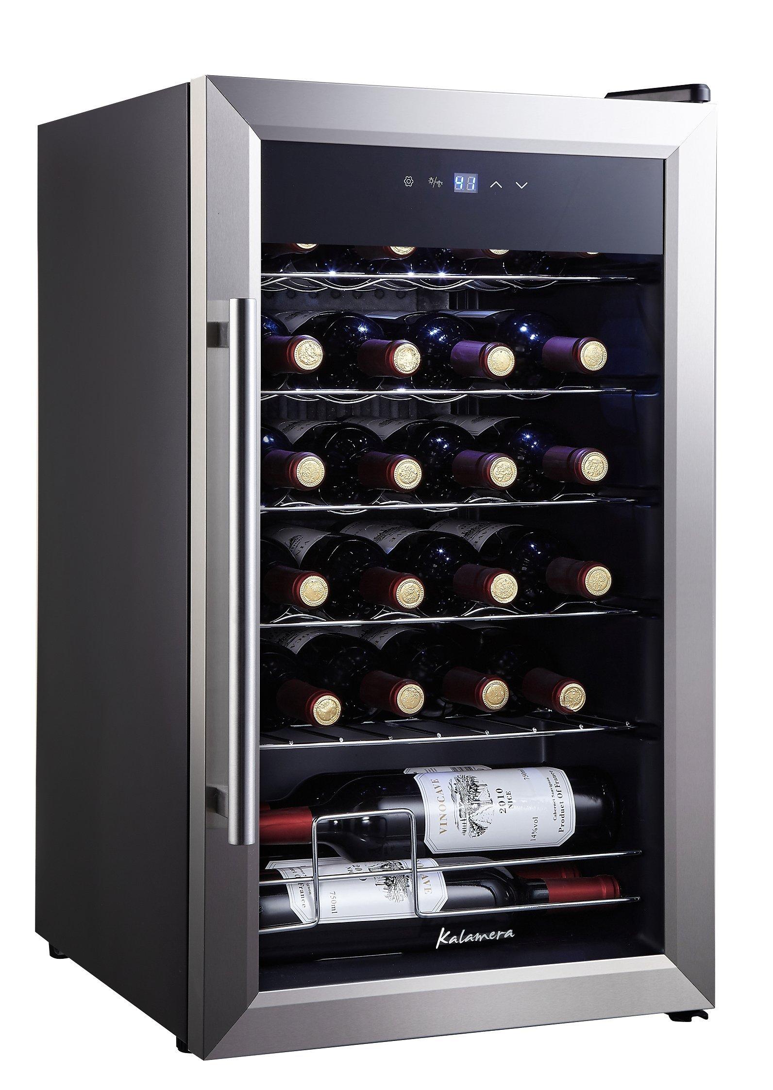Kalamera KRC-24SS 24 Bottle Single Zone Wine Cooler Small Fridge, Black by Kalamera