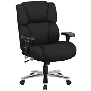 Flash Furniture HERCULES Series 24/7 Intensive Use Big & Tall 400 lb. Rated Black Fabric Executive Ergonomic Office Chair with Lumbar Knob