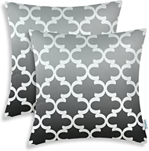 CaliTime Pack of 2 Canvas Throw Pillow Covers Cases for Couch Sofa Home Decor Modern Gradient Quatrefoil Accent Geometric 18 X 18 Inches Gray to Grey