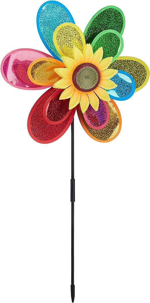 Relaxdays Molinillo de Viento Forma de Flor para Jardín y Terraza, Poliéster, Multicolor, 74, 5 x 37, 5 x 14 cm: Amazon.es: Jardín