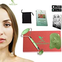 Nature's Secret Jade Roller and Gua Sha Massage Tool - Relaxing Gua Sha Anti-Ageing Facial Roller Set - Rejuvenates Skin and Treats Wrinkles - Ideal Gift Idea