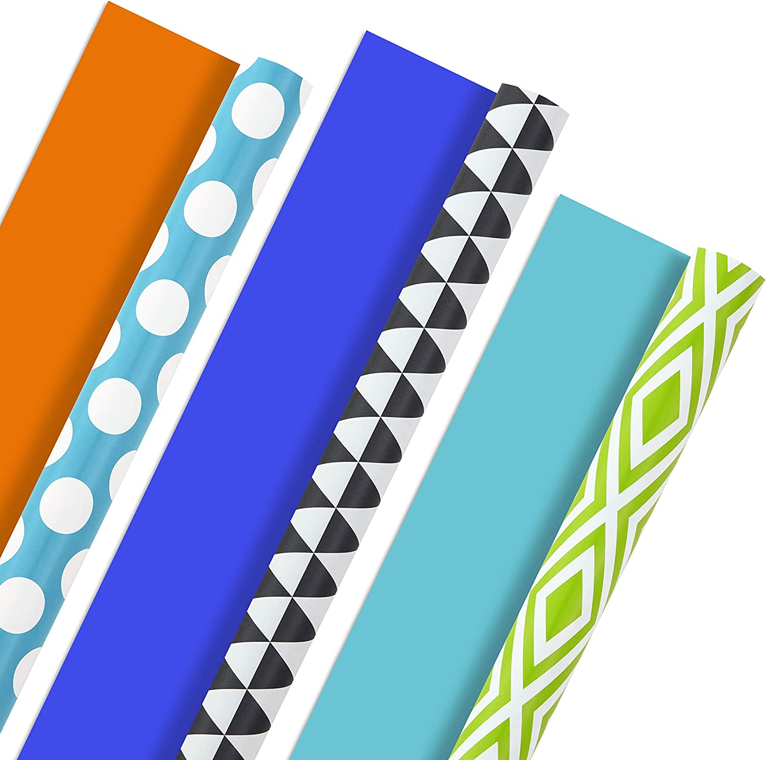 Hallmark Reversible Wrapping Paper, Brights - Green, Gray, Teal Prints & Orange, Blue, Purple Solids (Pack of 3, 120 sq. ft. ttl.) for Birthdays, Graduations, Father's Day, Baby Showers, Halloween: Kitchen & Dining