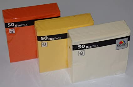 150 piezas de servilletas en combinación=50 x crema amarilla clara + 50 x amarillo sol amarillo + 50 x naranja brillante exótica - 33x33 cm - 13x13 pulgadas - 3 capas - 1/4 pliegue: Amazon.es: Oficina y papelería