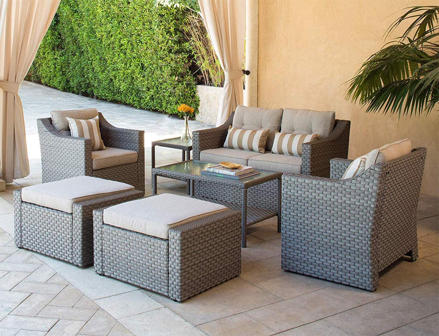SOLAURA Outdoor Furniture Set 7-Piece Wicker Furniture Lounge Chairs with Ottoman Loveseat Gray Wicker Patio with Neutral Beige