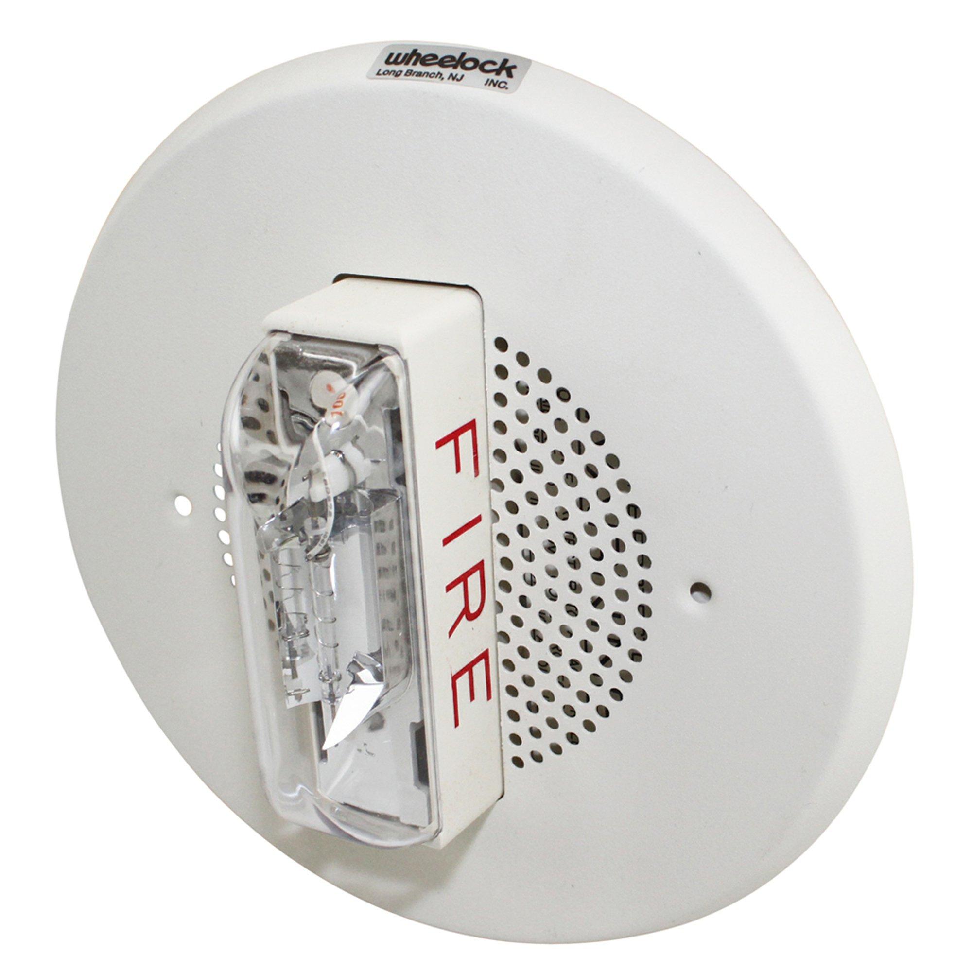 Wheelock E90-24100C-Fw 24Vdc Ceiling Fire Alarm Strobe Speaker; White 117887 - White