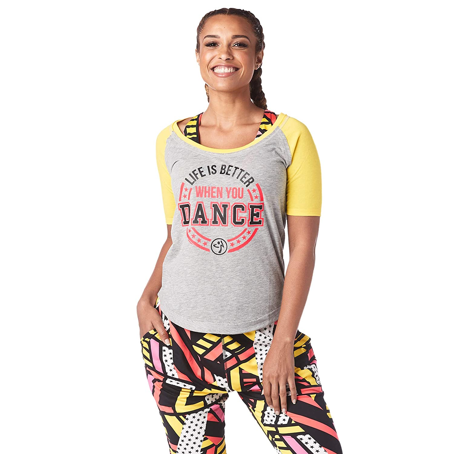 Zumba Womens Athletic Workout Cold Shoulder Tops for Women Fashion Print Design Tee Shirt Short Sleeve AthleticWorkout Cold Shoulder Tops for Women Fashion Print Design Tee Shirt