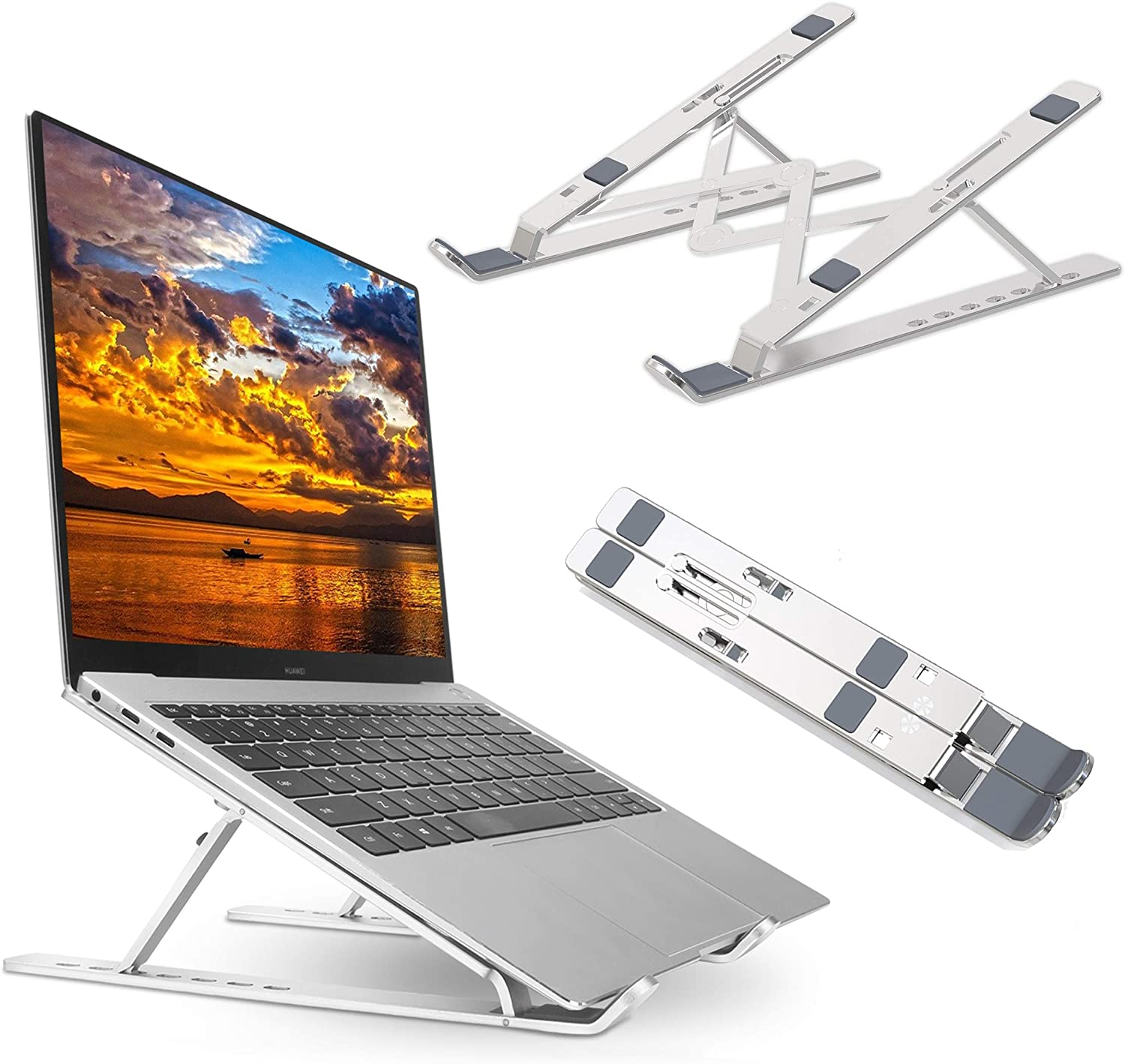 "Adjustable Laptop Stand, Aluminum Laptop Riser Computer Stand, Tablet Stand, Ergonomic Foldable Portable Desktop Holder Compatible with MacBook Air Pro More 10-15.6"" Laptops"