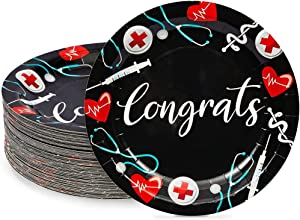 Nurse Graduation Party Plates, Congrats (Black, 9 In, 80 Pack)