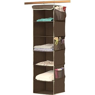 Simple Houseware 6 Shelves Hanging Closet Organizer, Bronze