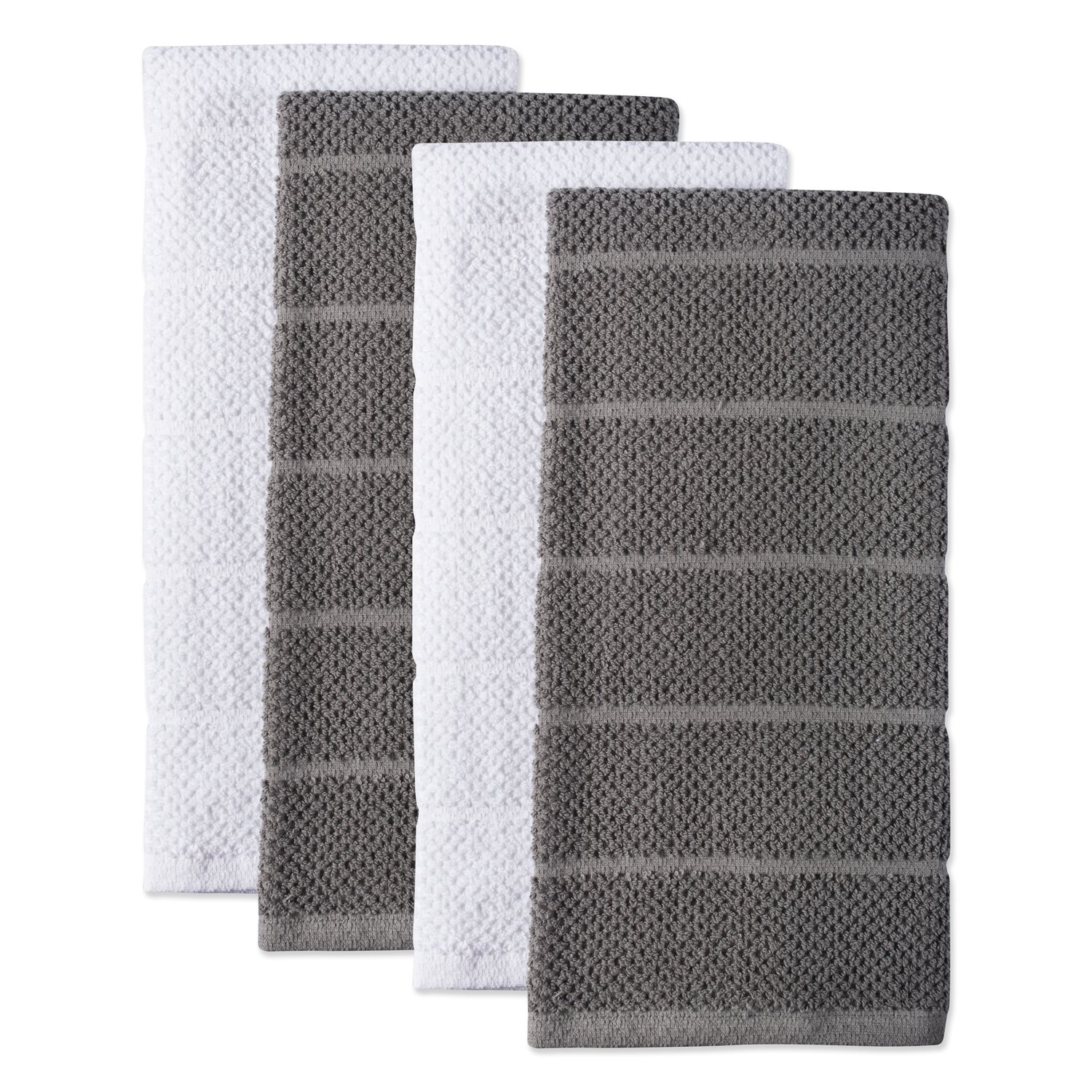 DII 100% Cotton, Ultra-Absorbent, Cleaning, Drying, Everyday Kitchen Basic, Luxury Chef Terry Dishtowel, 16 x 26 Set of 4-Gray