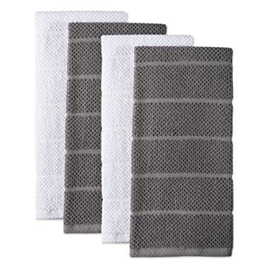 DII 100% Cotton Ultra-Absorbent Cleaning Drying Luxury Chef Terry Dish Towels for Everyday Kitchen Basic 16 x 26 Set of 4- Gray/White