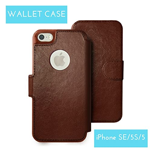 iPhone SE Wallet Case, iPhone 5S/5 Wallet Case - Elegant Faux Leather - Lightweight & Multifunction - Travel Wallet Credit Card Holder - Free Screen Protector - Vintage Dark Brown