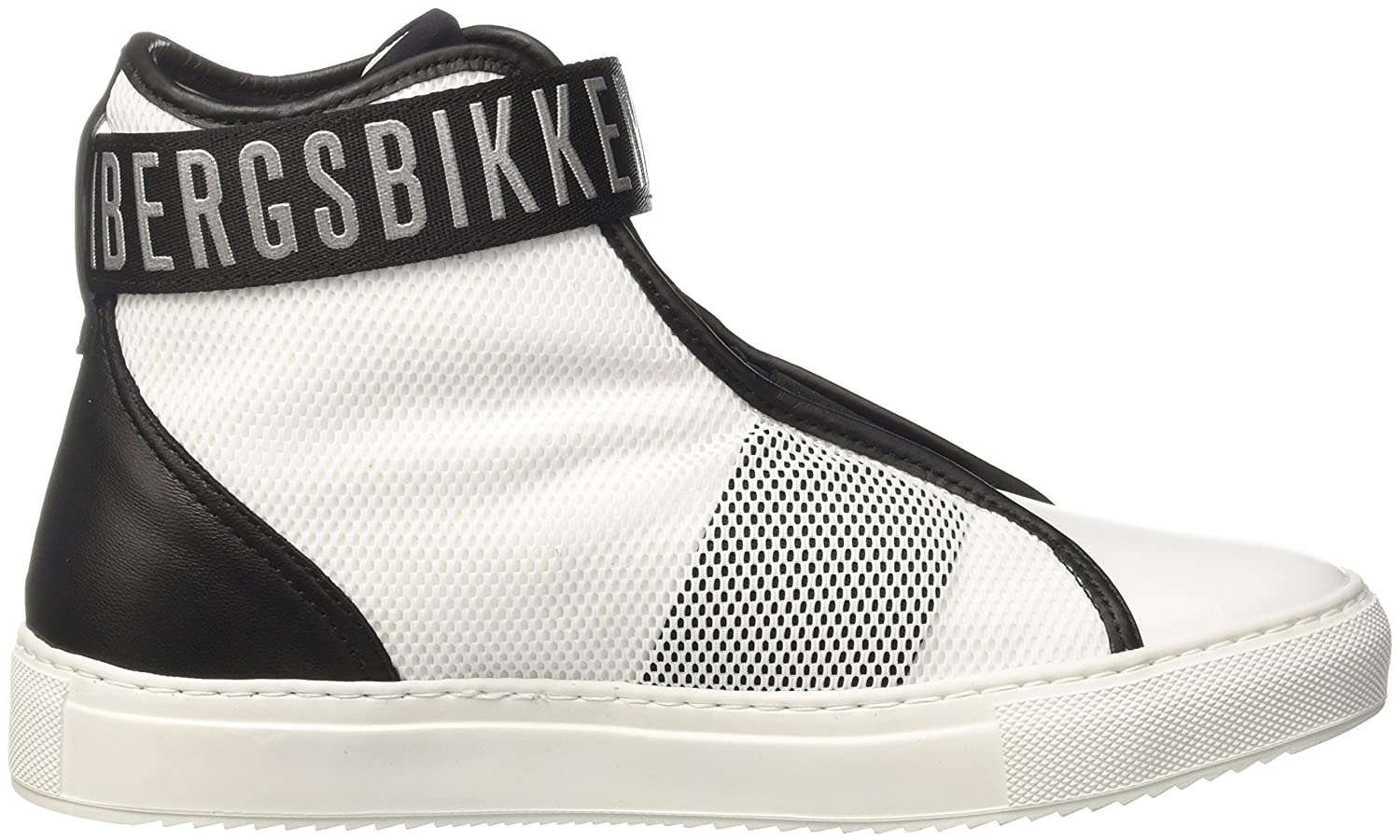 Bikkembergs Rubb-ER 752 Mid Shoe M Leather, Baskets Hautes Femme, Blanc (White/Black), 36 EU