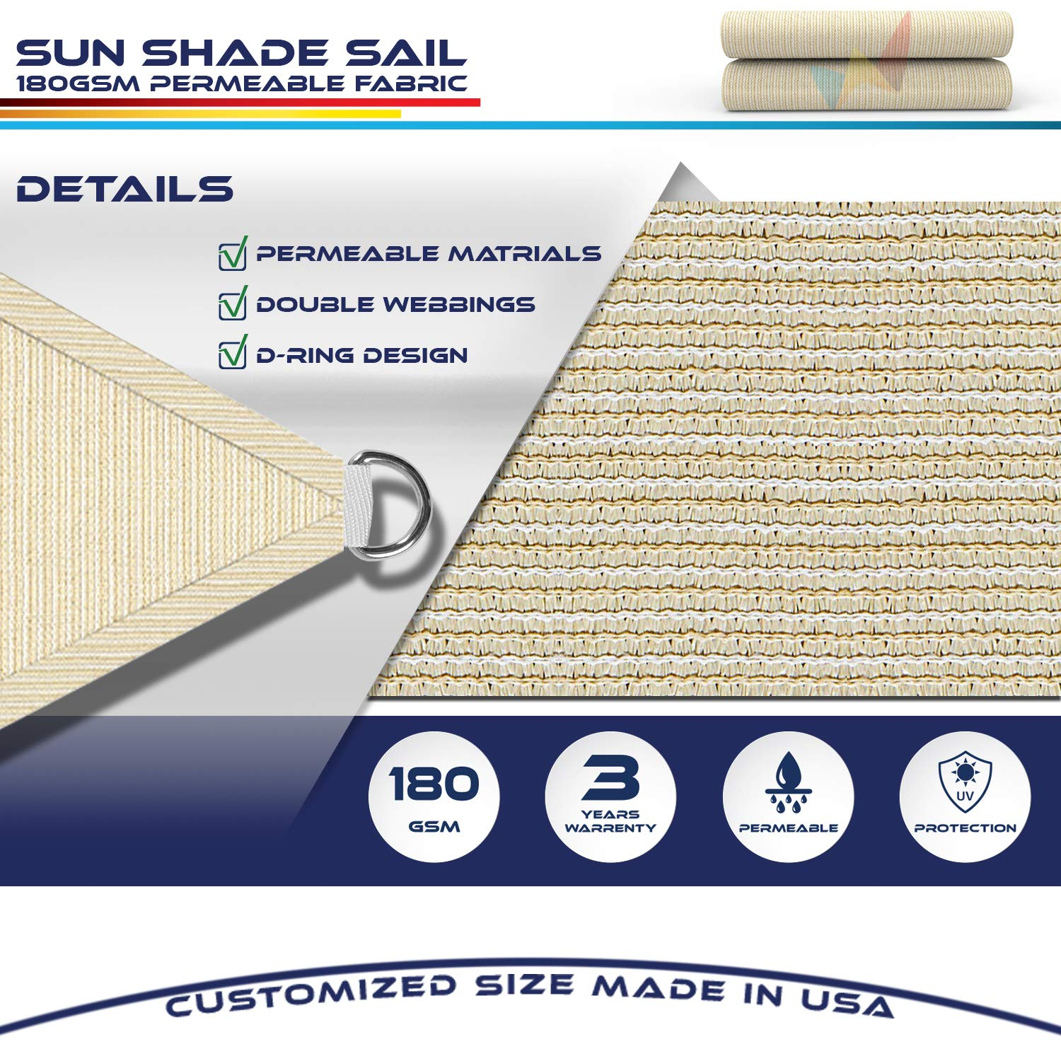 Windscreen4less 16 x 16 x 16 Sun Shade Sail Canopy in Beige with Commercial Grade 3 Year Warranty Customized Sizes Available