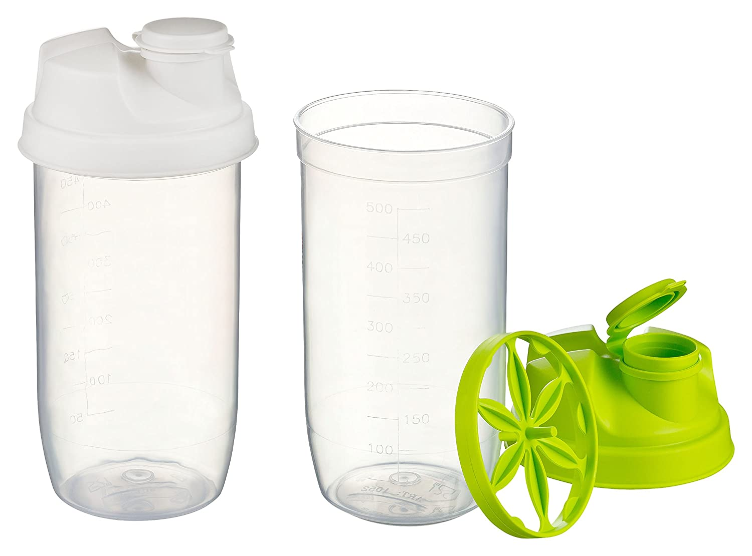 Kigima Shaker 500ml Set di 2 con scala verde/bianco