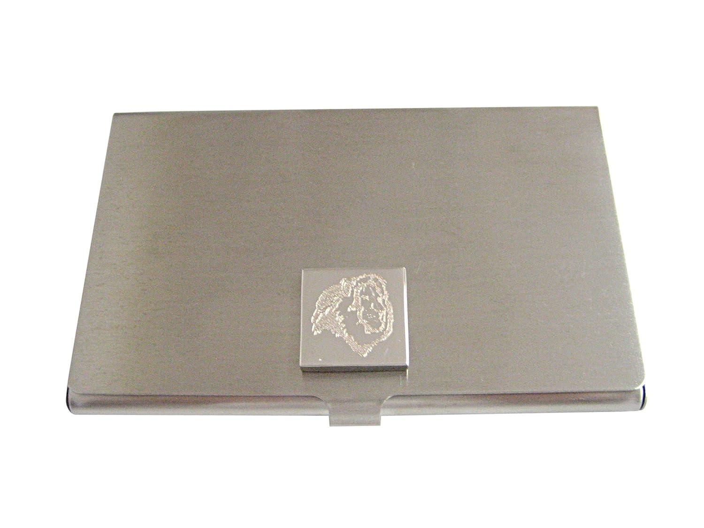 Silver Toned Etched Side Facingライオンヘッドビジネスカードホルダー   B01JFL6GXY