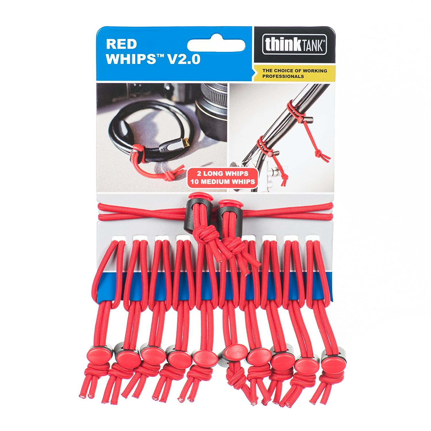 Think Tank Photo Red Whips Reusable Bungee Cable Ties V2.0 740964