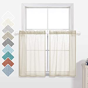 KOUFALL Short Curtains 36 inch Length for Small Bedroom Window 2 Panels Rod Pocket Farmhouse Semi Sheer Faux Linen Tier Cafe Privacy Curtain for Camper Basement Bathroom Kitchen 30x36 Long Cream Beige