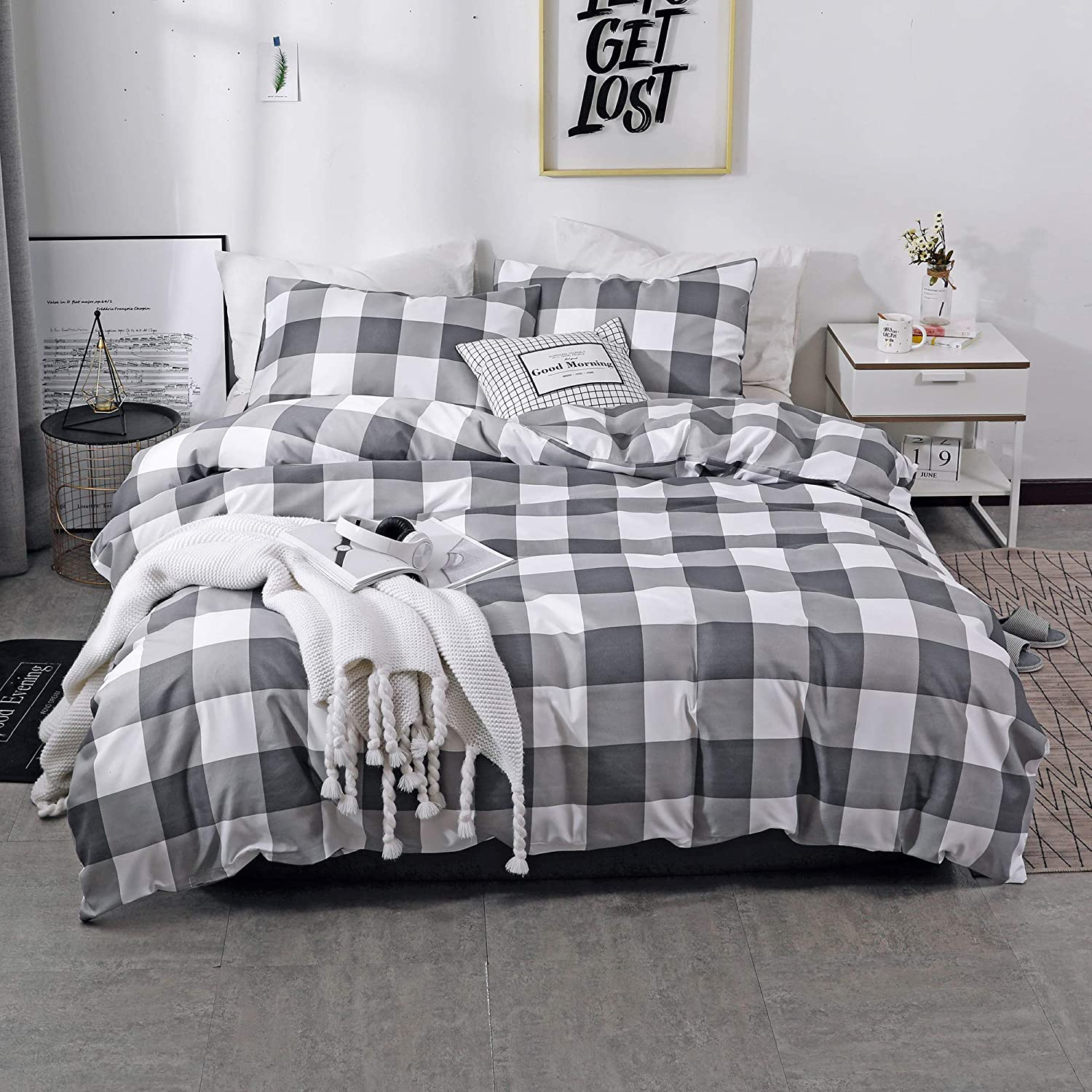 NOKOLULU Farmhouse Buffalo Check Gingham Simple Geometric Square Pattern Bedding Set Modern and Fashionable Plaid Anti Allergy Duvet Cover with Sham Set for Home (Queen, Grey)
