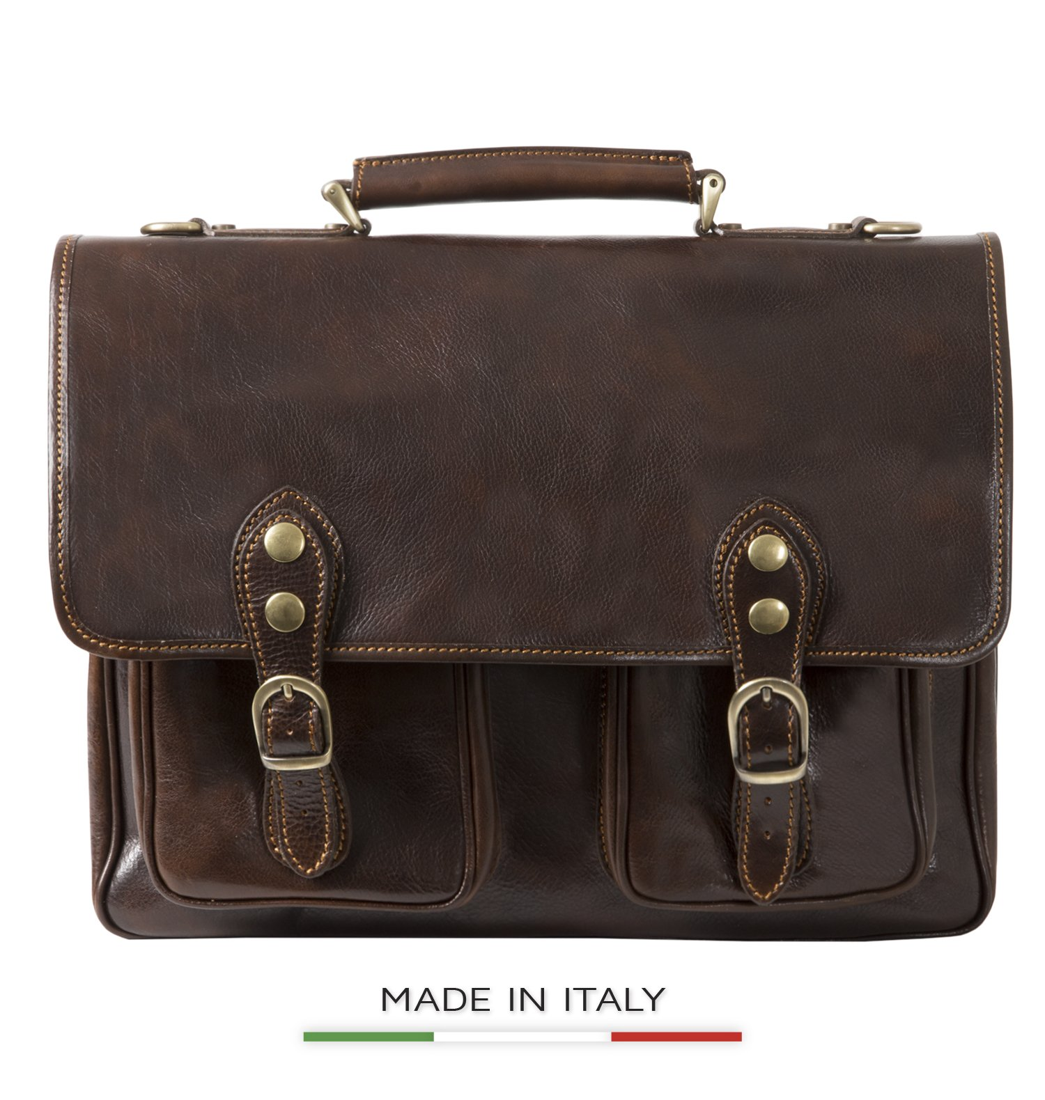 Luggage Depot USA, LLC Men's Alberto Bellucci Italian Leather Express Satchel D. Brn Laptop Messenger Bag, Dark Brown, One Size by Luggage Depot USA, LLC (Image #1)