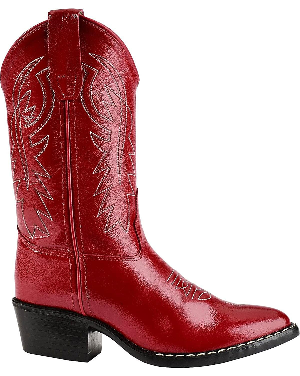 US 8116 M Old West Girls Leather Cowgirl Boot Red 13.5 D
