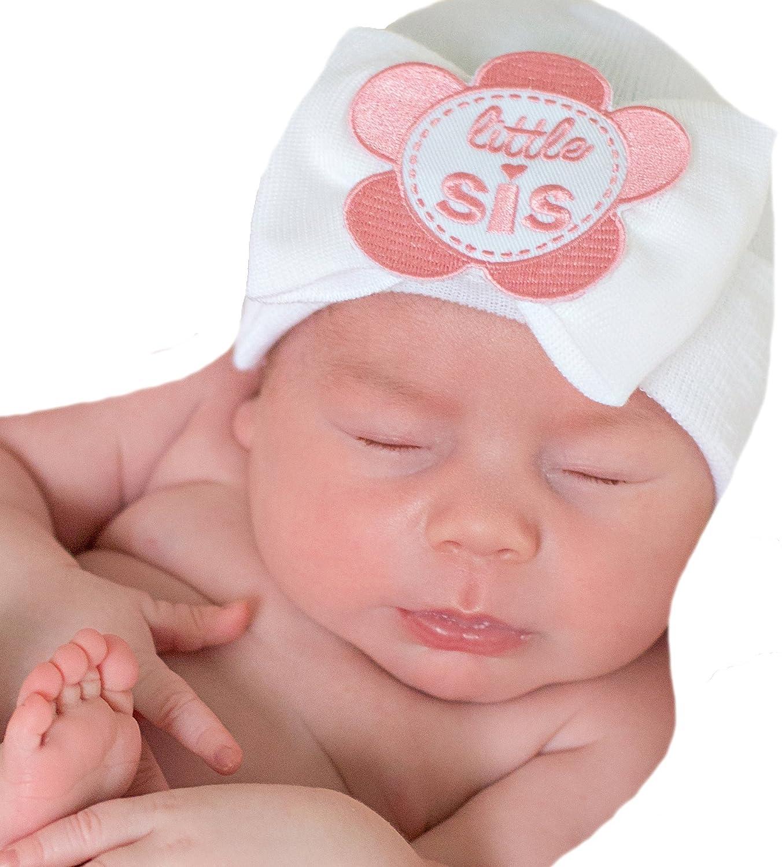 Amazon.com  Melondipity White Little SIS Newborn Girl Hospital Hat - Newborn  Nursery Beanie  Clothing 7b173cc23393