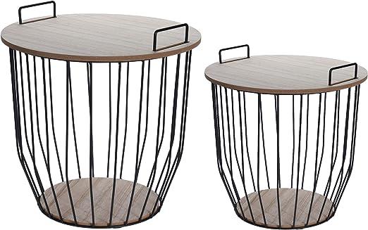 Juego de 2 mesas auxiliares de metal con cesta de almacenamiento y ...