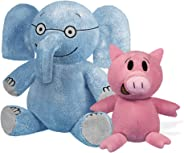 """YOTTOY Mo Willems Collection   Pair of Elephant & Piggie Soft Stuffed Animal Plush Toys – 7"""" & 5"""" Sitting"""